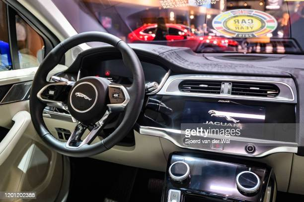 Jaguar IPace batteryelectric crossover SUV interior on display at Brussels Expo on January 9 2020 in Brussels Belgium The IPace is the first electric...