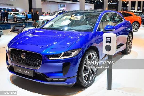 Jaguar I-Pace battery-electric crossover SUV on display at Brussels Expo on January 9, 2020 in Brussels, Belgium. The I-Pace is the first electric...