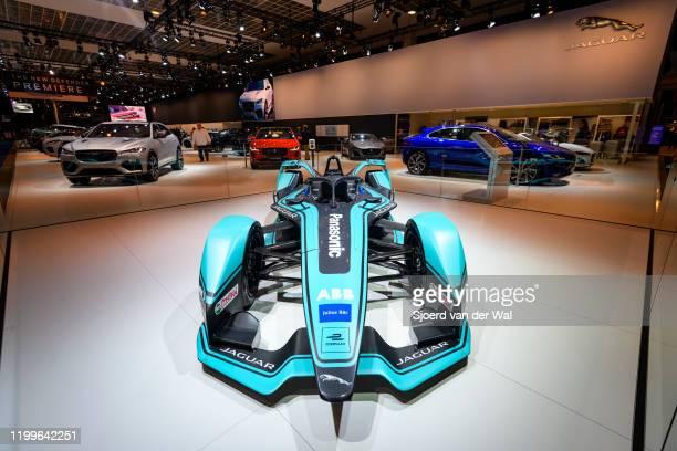 "Jaguar I-Type 3 race car competing in the FIA Formula E 2018""u201319 season championship for Panasonic Jaguar Racing on display at Brussels Expo on..."