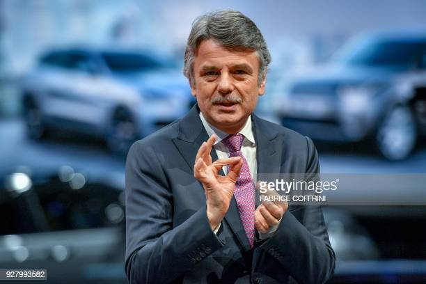 Jaguar Land Rover CEO Ralf Speth delivers a speech during the first press day of the Geneva International Motor Show on March 6 2018 in Geneva The...