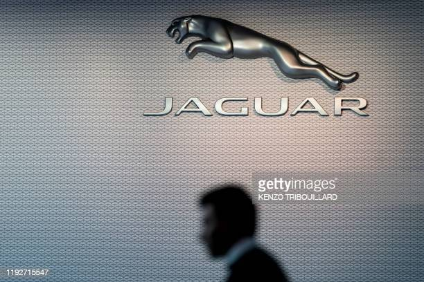 Jaguar logo is pictured during the Brussels Motor Show on January 9, 2020 in Brussels.