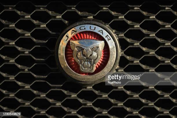 Jaguar logo seen on a parked car in Dublin city center. On Tuesday, January 11 in Dublin, Ireland.
