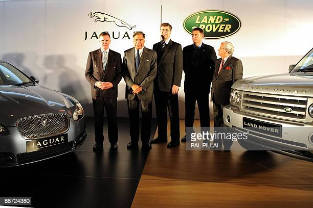 Jaguar Managing Director Mike O'Driscoll Tata Group and Tata Motors Chairman Ratan Tata Jaguar Land Rover CEO David Smith Land Rover Managing...