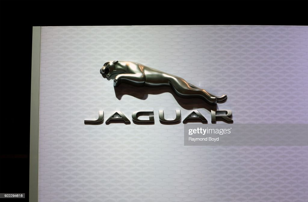 Jaguar signage is on display at the 110th Annual Chicago Auto Show at McCormick Place in Chicago, Illinois on February 9, 2018.