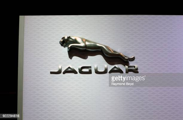 Jaguar signage is on display at the 110th Annual Chicago Auto Show at McCormick Place in Chicago Illinois on February 9 2018