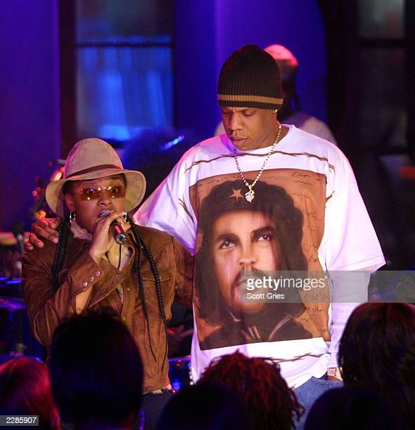 Jaguar Wright whose new album 'Denials Delusions And Decisions' was released on 1/29/02 performs with JayZ and The Roots on 'MTV Unplugged' at the...