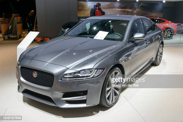 Jaguar XE-series British compact luxury sedan car front view on display at Brussels Expo on January 13, 2017 in Brussels, Belgium. The Jaguar XE is...