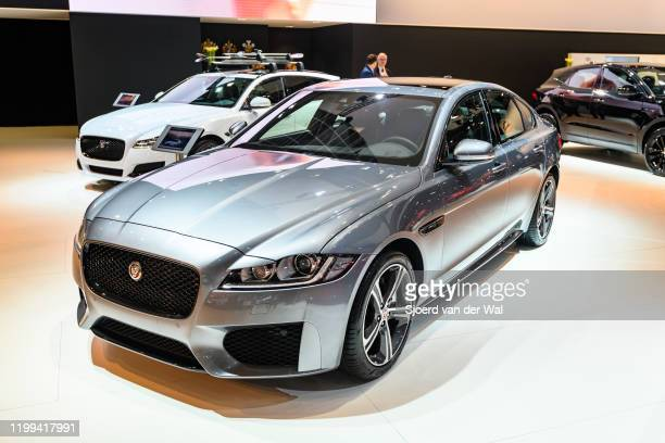 Jaguar XF Chequered Flag Edition luxury performance sedan on display at Brussels Expo on January 9, 2020 in Brussels, Belgium. The XF is available...