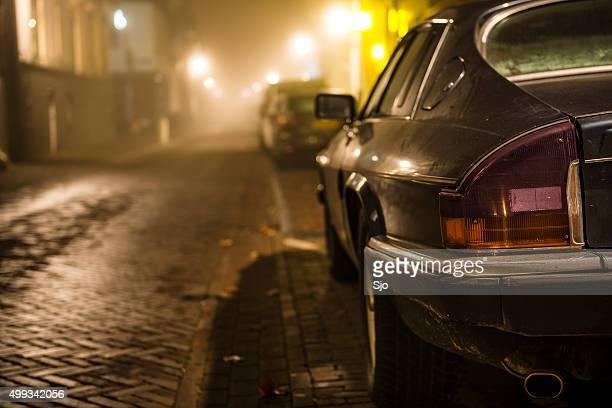 Jaguar XJ-S sports car at night