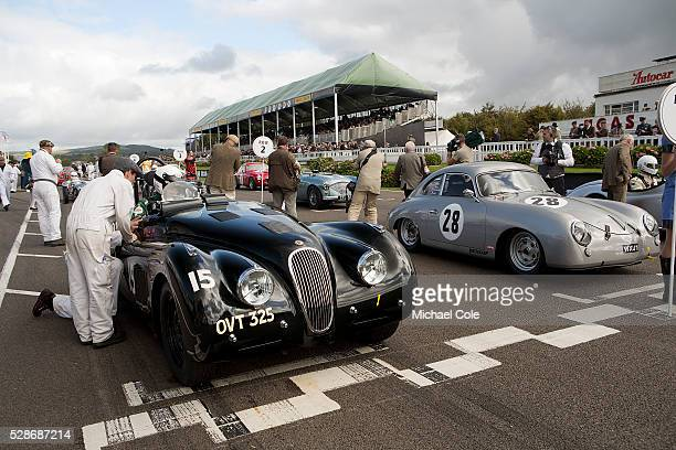 Jaguar XK 120 driven by John Young on the start line at the beginning of the Fordwater Trophy race