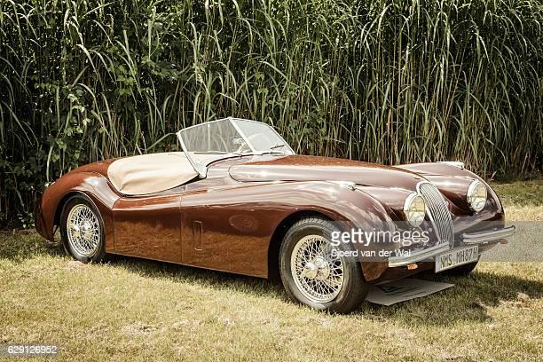 jaguar xk120 roadster classic british sports car - jaguar car stock pictures, royalty-free photos & images