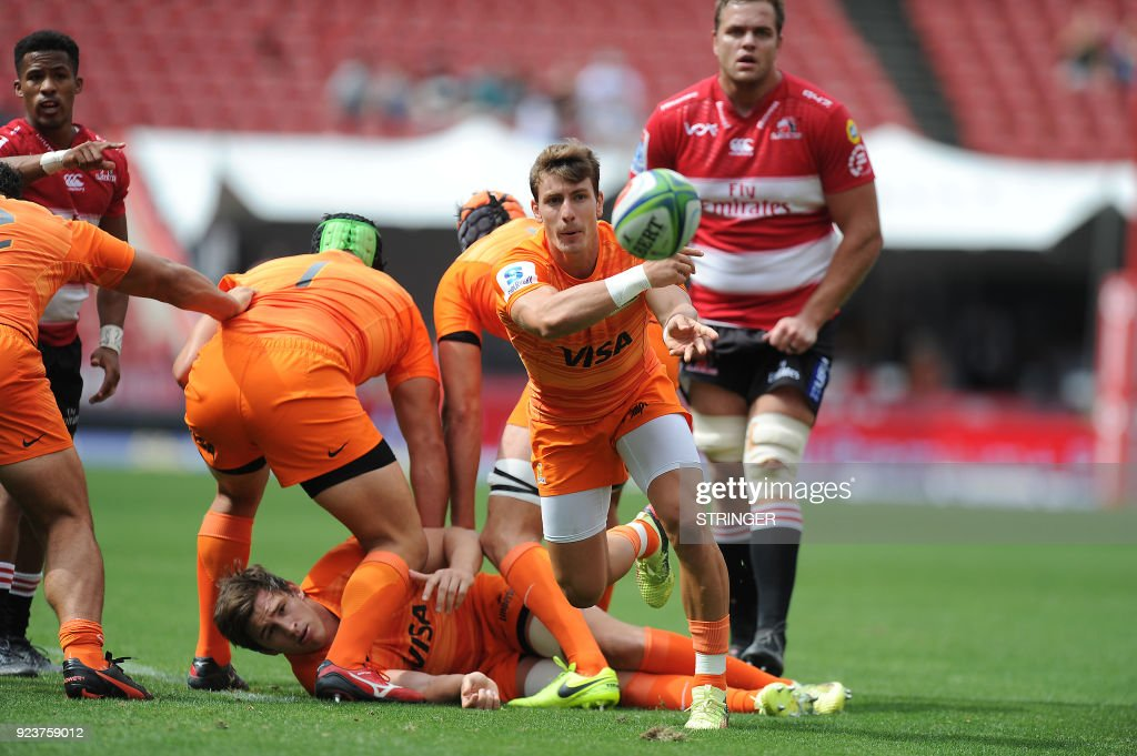 Jaguares Gonzalo Bertranou clears a ruck during the SUPERXV Rugby match between Lions and Jaguares at Ellis Park Rugby Stadium on February 24, 2018 in Johannesburg, South Africa. /