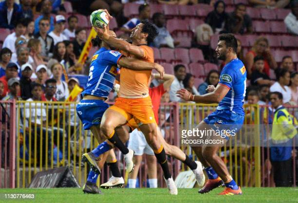 Jaguares' Matias Moroni runs with the ball during the Super Rugby rugby union match between South Africa's Stormers and Argentina's Jaguares at...