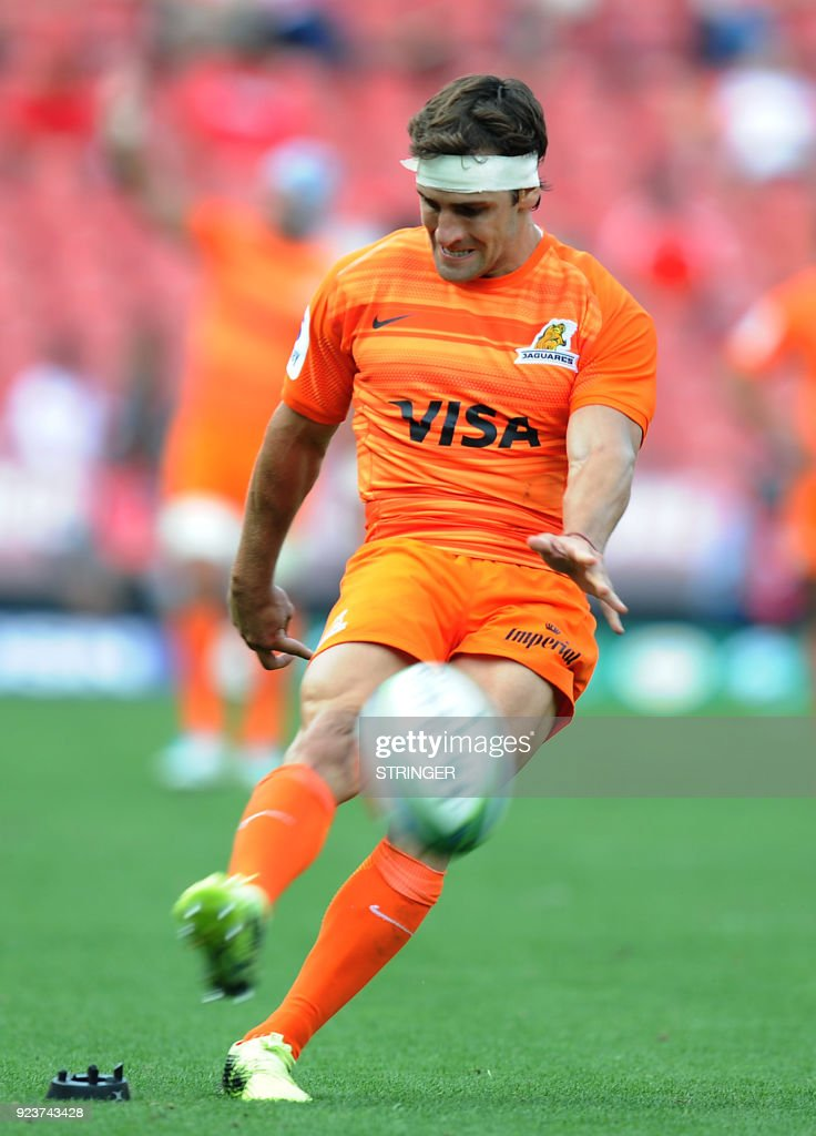 Jaguares Nicolas Sanchez kicks a ball during the SUPERXV Rugby match between Lions and Jaguares at Ellis Park Rugby Stadium on February 24, 2018 in Johannesburg, South Africa. /