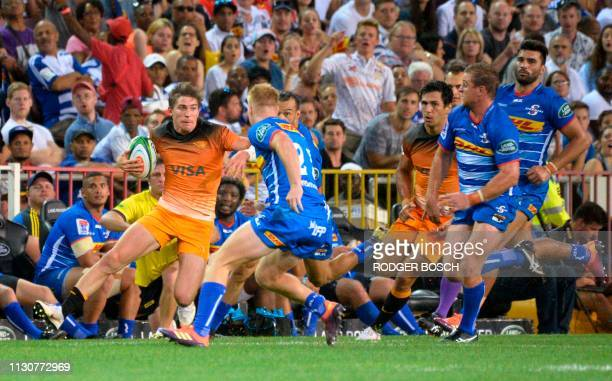 Jaguares Sebastian Cancelliere runs with the ball during the Super Rugby rugby union match between South Africa's Stormers and Argentina's Jaguares...