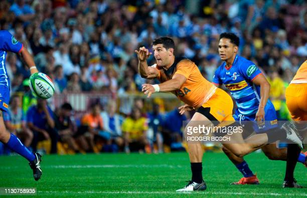 Jaguares' Tomas Cubelli passes the ball during the Super Rugby rugby union match between South Africa's Stormers and Argentina's Jaguares at Newlands...