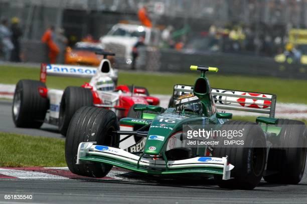 Jaguar's Eddie Irvine leads Toyota's Allan McNish