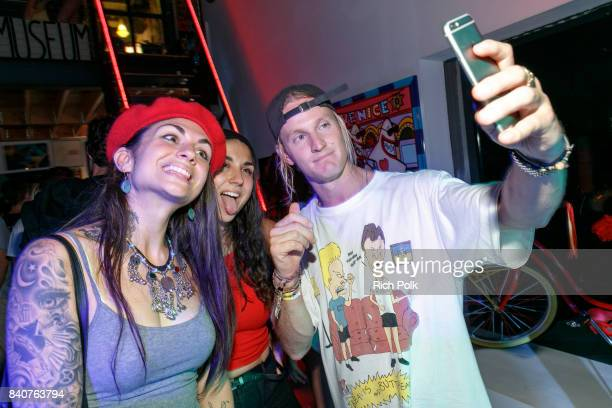 Jahan Yousaf Yasmine Yousaf and Rory Kramer take a selfie at MTV's Dare To Live Premiere Party at WNDO Space on August 29 2017 in Venice California