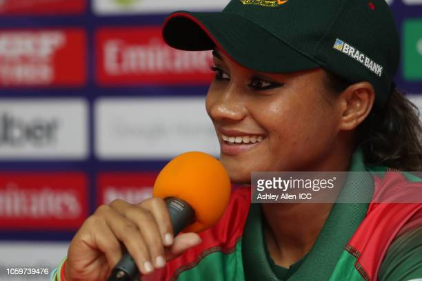 Jahanara Alam captain of Bangladesh answers questions during a post match press conference match 3 Windies Women v Bangladesh Women on November 9...