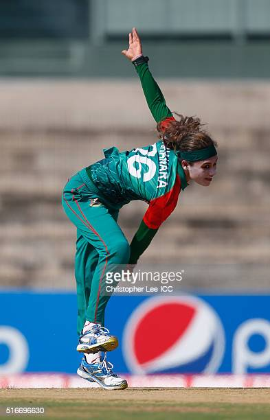 Jahanara Alam Captain of Bangladesh in action during the Women's ICC World Twenty20 India 2016 Group B match between West Indies and Bangladesh at...
