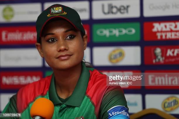 Jahanara Alam captain of Bangladesh listens to a questions during a post match press conference match 3 Windies Women v Bangladesh Women on November...