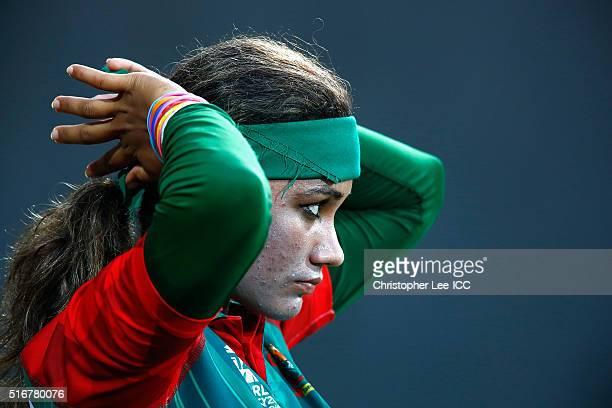 Jahanara Alam Captain of Bangladesh prepares to bat during the Women's ICC World Twenty20 India 2016 Group B match between West Indies and Bangladesh...