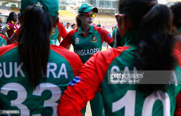 Jahanara Alam, Captain of Bangladesh talks to her team before they go out to field during the Women's ICC World Twenty20 India 2016 Group B match...