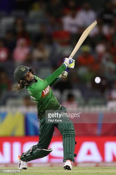 Jahanara Alam of Bangladesh bats during the ICC Women's T20 Cricket World Cup match between India and Bangladesh at WACA on February 24, 2020 in...