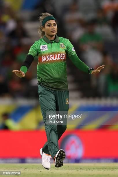 Jahanara Alam of Bangladesh bowls during the ICC Women's T20 Cricket World Cup match between India and Bangladesh at WACA on February 24, 2020 in...