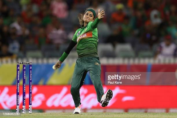 Jahanara Alam of Bangladesh bowls during the ICC Women's T20 Cricket World Cup match between India and Bangladesh at WACA on February 24 2020 in...