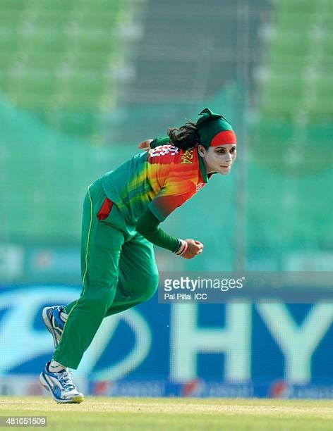Jahanara Alam of Bangladesh bowls during the ICC Women's World Twenty20 match between Bangladesh Women and England Women played at Sylhet...