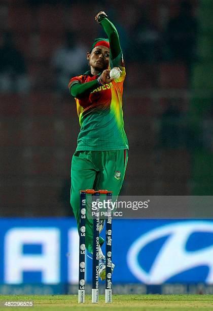 Jahanara Alam of Bangladesh bowls during the ICC Women's World Twenty20 9th/10th Ranking match between Bangladesh Women and Ireland Women played at...