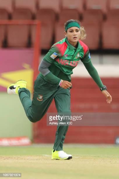 Jahanara Alam of Bangladesh bowls during the ICC Women's World T20 warm up match between Bangladesh and Ireland on November 4 2018 at the Guyana...