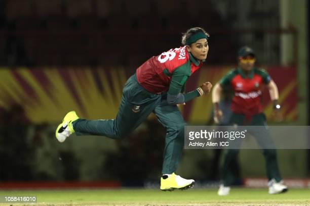 Jahanara Alam of Bangladesh bowls during the warm up match between Bangladesh v Pakistan Warm Up ICC Women's World T20 2018 November 6 2018 at the...