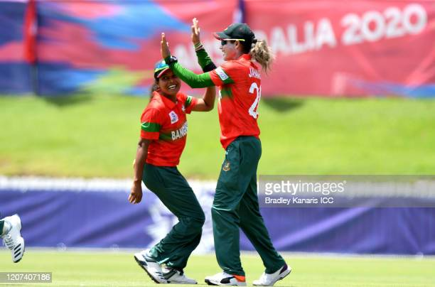 Jahanara Alam of Bangladesh celebrates after taking the catch to dismiss Nida Dar of Pakistan during the ICC Women's T20 Cricket World Cup match...