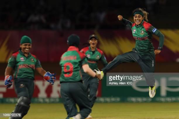 Jahanara Alam of Bangladesh celebrates getting the wicket of Deandra Dottin of Windies at Providence Stadium on November 9 2018 in Providence Guyana