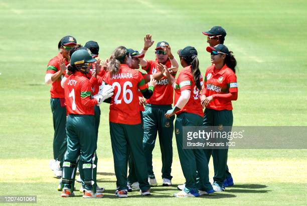 Jahanara Alam of Bangladesh celebrates taking the wicket of Bismah Maroof of Pakistan during the ICC Women's T20 Cricket World Cup match between...