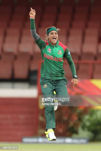 Jahanara Alam of Bangladesh celebrates the wicket of Ireland's Clare Shillington during the ICC Women's World T20 warm up match between Bangladesh...