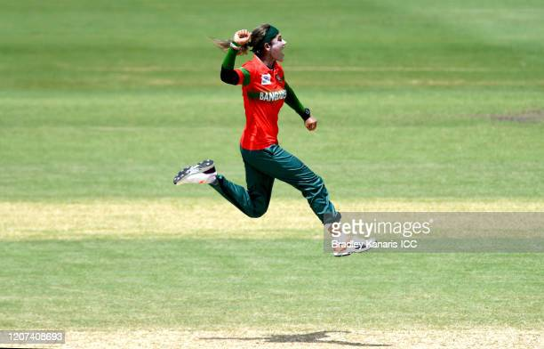 Jahanara Alam of Bangladesh celebrates victory and the last wicket of the match during the ICC Women's T20 Cricket World Cup match between Bangladesh...