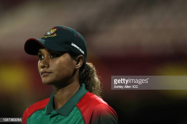 Jahanara Alam of Bangladesh looks on as both teams practice a super-over during the ICC Women's World T20 warm up match between Bangladesh and...