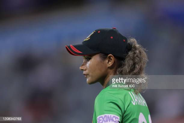 Jahanara Alam of Bangladesh looks on during the ICC Women's T20 Cricket World Cup match between India and Bangladesh at WACA on February 24 2020 in...
