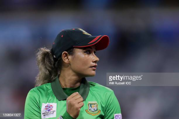 Jahanara Alam of Bangladesh looks on during the ICC Women's T20 Cricket World Cup match between India and Bangladesh at WACA on February 24, 2020 in...