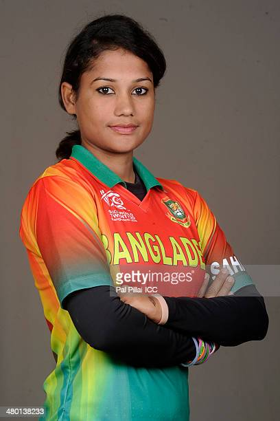 Jahanara Alam of Bangladesh poses for a portrait during the women's headshot session before the start of the ICC Women's World T20 at the Sylhet...