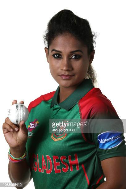 Jahanara Alam poses during the Bangladesh Portraits session ahead of the ICC Women's World T20 2018 tournament on November 05, 2018 in Georgetown,...