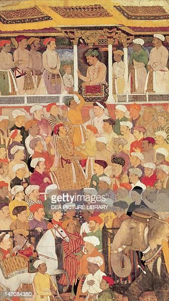 Jahangir in Darbar miniature of Mughal art India