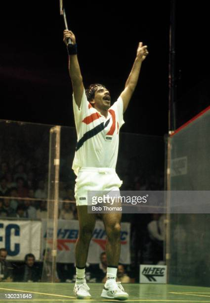 Jahangir Khan of Pakistan celebrates his win over Rodney Martin of Australia in the British Open Squash Championships at Wembley Arena, circa 1989.