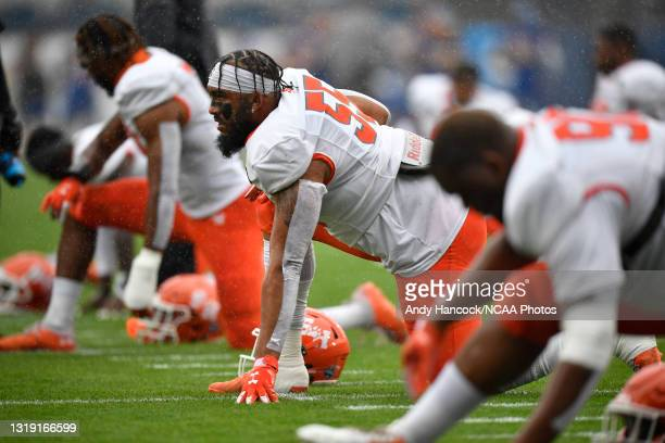 Jahari Kay of the Sam Houston State Bearkats looks on during warm ups before the game against the South Dakota State Jackrabbits during the Division...