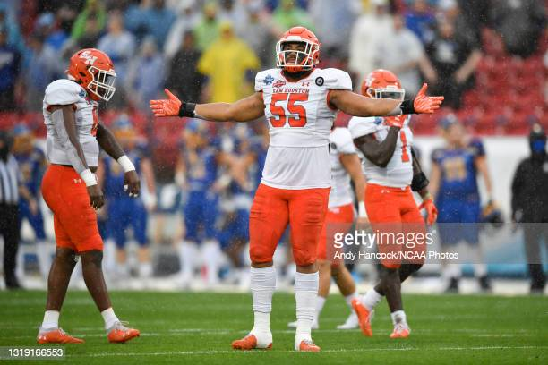 Jahari Kay of the Sam Houston State Bearkats reacts during the first quarter against the South Dakota State Jackrabbits during the Division I FCS...