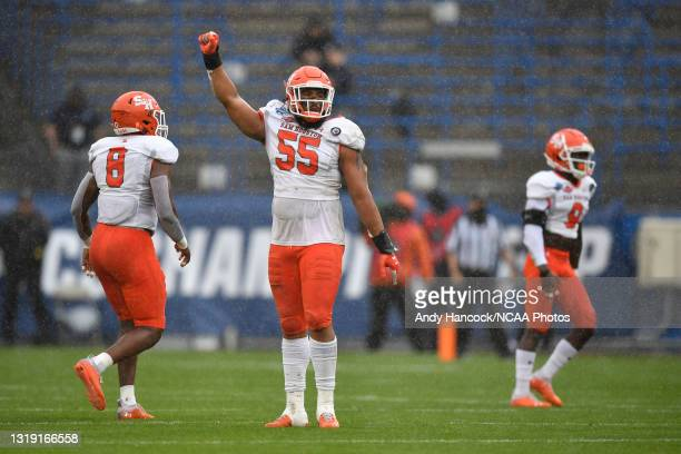 Jahari Kay of the Sam Houston State Bearkats reacts to a defensive stop against the South Dakota State Jackrabbits during the first quarterduring the...