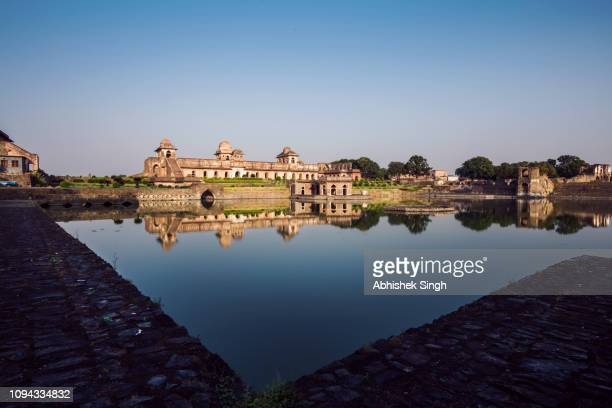jahaz mahal in mandu region also known as ship palace, madhya pradesh, india - madhya pradesh stock pictures, royalty-free photos & images